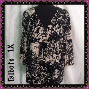 Floral Print Cardigan by Talbots Size 1X